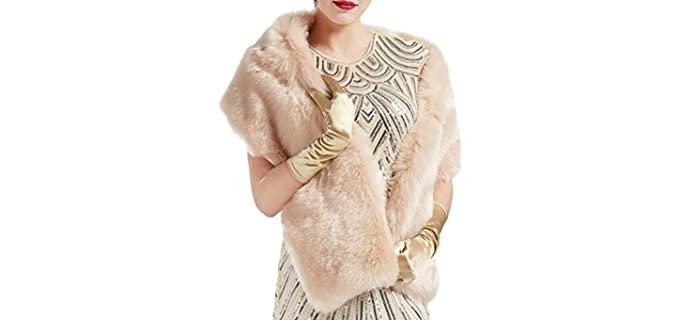 BABEYOND Womens Faux Fur Collar Shawl Faux Fur Scarf Wrap Evening Cape for Winter Coat (Light Camel)